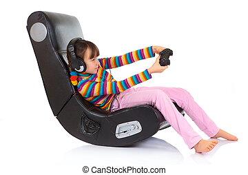 ילדה, לשחק, כסא, משחק