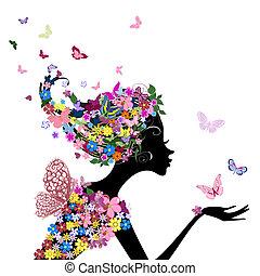 ילדה, עם, פרחים, ו, פרפרים