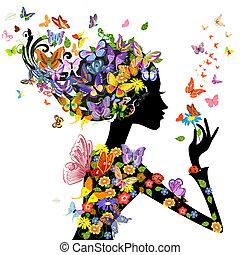 ילדה, עצב, פרחים, עם, פרפרים