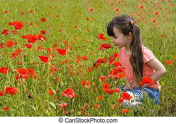 ילדה, פרחים