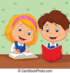 ילדה, ציור היתולי, בחור, ביחד, למד