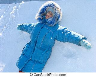 ילדה, צעיר, השלג