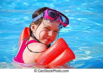 ילדה, צעיר, צרף, לשחות