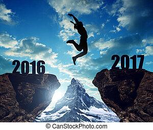 ילדה, קופץ, ל, ה, ראש שנה, 2017
