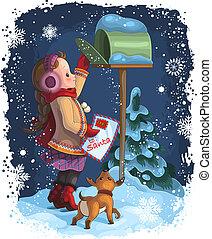 ילדה, קטן, סנטה, מכתב, לפרסם