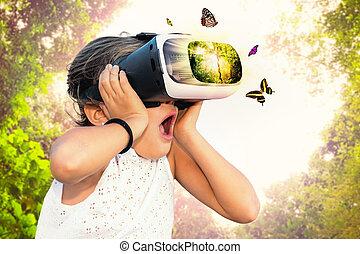 ילדה קטנה, בעל כיף, עם, מציאות ורטואלית, glasses.
