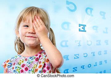 ילדה קטנה, לקרוא, הבט, chart.