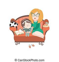 ילדה, שלה, צעיר, הזמן, אמא, לקרוא