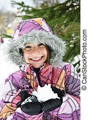 ילדה, שמח, השלג, להחזיק, חורף