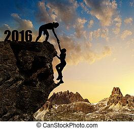 ילדות, מטפס, לתוך, ה, ראש שנה