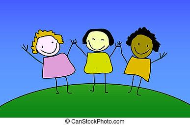 ילדות, שלושה, שמח