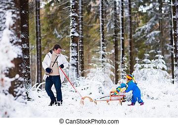ילדים, אבא, השלג, לשחק