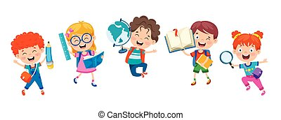 ילדים, בית ספר, חמוד, ציור היתולי, שמח