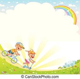 ילדים, דפוסית, עצב, לפרסם, רקע, brochure., שלך