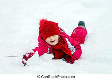 ילדים, השלג, בעלת, התגלגל