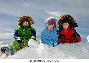 ילדים, השלג, לשחק