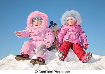 ילדים, השלג, שלושה