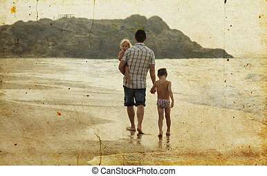ילדים, ישן, צילום, דמות, אבא, שני, חופש, sea., style.