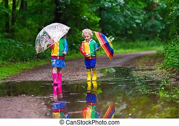 ילדים, לשחק, בגשם