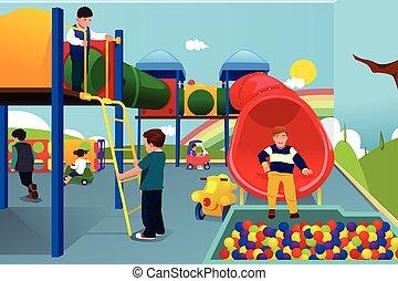 ילדים, מגרש משחקים, לשחק
