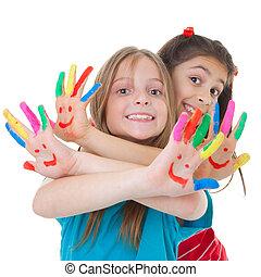 ילדים משחקים, עם, צבע