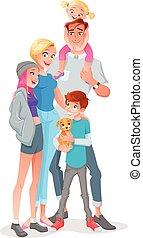 ילדים, משפחה, pet., הפרד, דוגמה, שלושה, רקע., וקטור, לבן, לחייך, ציור היתולי