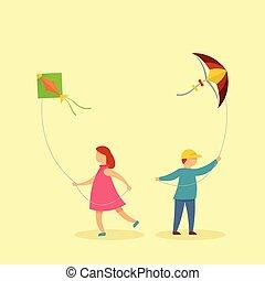 ילדים, עם, עפיפונים, רקע, דירה, סיגנון