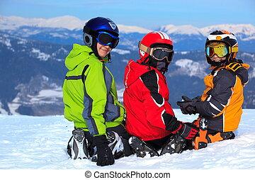 ילדים, פיסגת הר, השלג