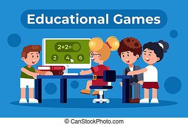 ילדים, צבעוני, דירה, דוגמה, חינוכי, משחק