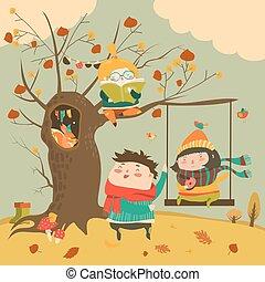ילדים, רכב, יער של סתו, התנדנד, שמח