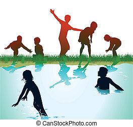 ילדים, שחק, להתרחץ