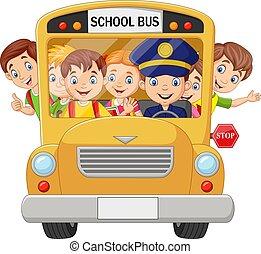 ילדים של בית הספר, אוטובוס, שמח