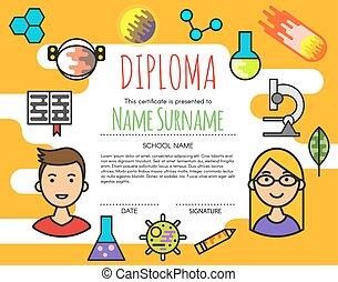 ילדים של בית הספר, תעודה, תעודה, יסודי, וקטור, עצב, רקע, diploma., template., לפני בהס