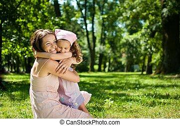 ילד, -, אושר, שלה, אמא
