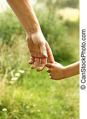 ילד, ידיים, הורה, טבע