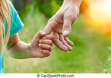 ילד, ידיים, טבע, הורה