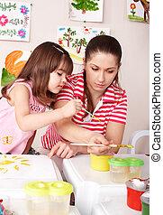 ילד, מורה, preschool., לצבוע