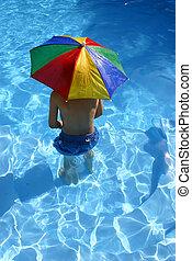 ילד, מתחת, מטריה
