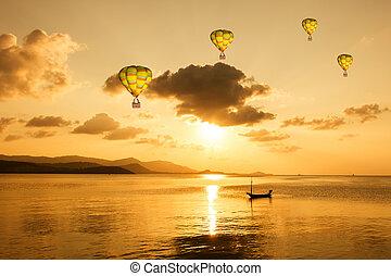 ים, יופי, מעל, הבלט, חם, שקיעה, רקע, balloon