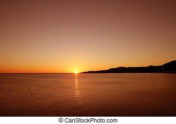 ים, ים תיכוני, מים של אוקינוס, שקיעה, אופק