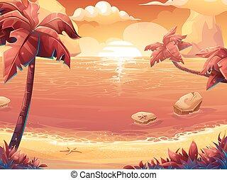ים, עצים, דקל, שמש, זהורית, שקיעה, או, עלית שמש