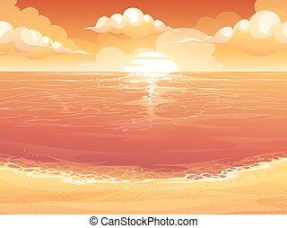 ים, שקיעה, שמש, זהורית, או, עלית שמש