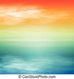 ים, sunset., טרופי, רקע.