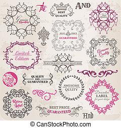 יסודות, קישוט, הסגר, אוסף, calligraphic, וקטור, עצב, בציר, פרחים, עמוד, set: