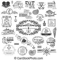 יסודות, -, calligraphic, וקטור, עצב, ים, ימי, ספר הדבקות