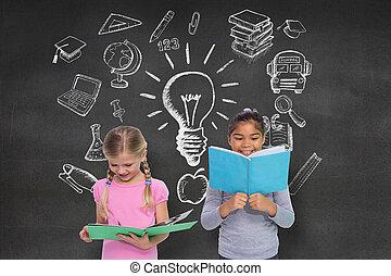 יסודי, מורכב, לקרוא, תלמידים, דמות