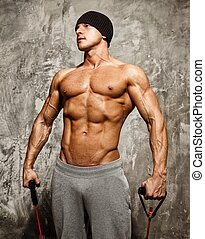 יפה, איש, עם, שרירי, גוף, לעשות, תרגיל של כושר הגופני