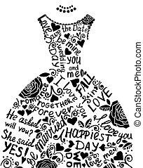 יפה, אלגנטי, dress., הזמנה, חתונה