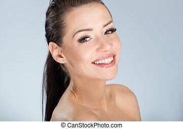 יפה, בריא, לחייך אישה, עור