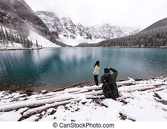 יפה, דמין, לוקח, צלם, אגם, בא, נקבה, דגמן